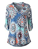 Zattcas Womens Floral Printed Tunic Shirts 3/4 Roll Sleeve Notch Neck Tunic Top,Blue White,X-Large