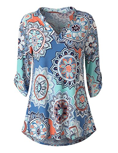 Zattcas Womens Floral Printed Tunic Shirts 3/4 Roll Sleeve Notch Neck Tunic Top (Large, Blue - Jersey Blouse Cotton