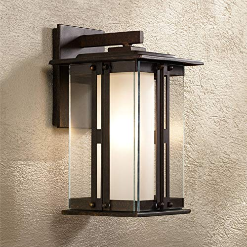 (Fallbrook Rustic Outdoor Wall Light Fixture Bronze 11 3/4