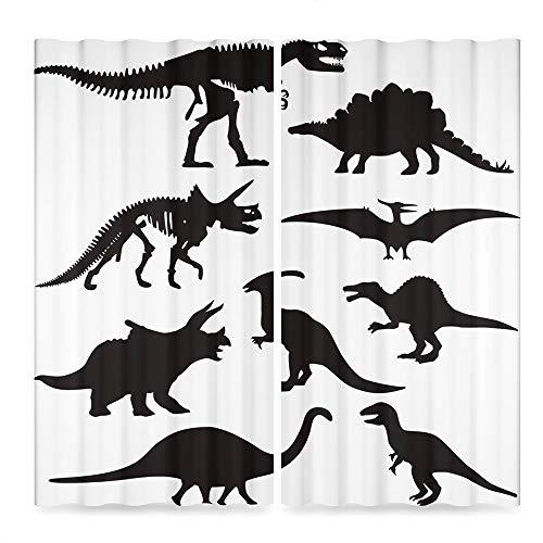 (TecBillion Dinosaur Decor Collection,Prehistoric Skeleton Bone Black Silhouettes of Different Ancient Wild Dinosaurs Decorative,for Living Room, 2 Panel Set,86W X 70L Inches)