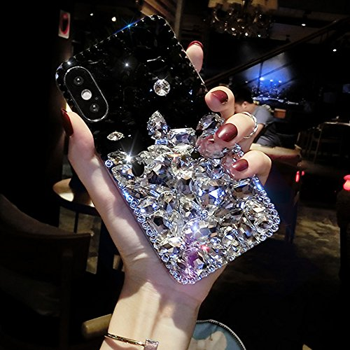 iPhone X Case, Aifeer Luxury Handmade Crystal Rhinestone Bling Full Diamond Glitter Case Cover for iPhone X (Black & ()