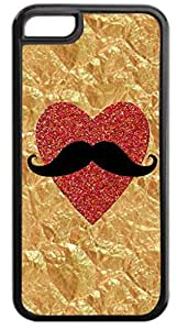Crinkled Gold Foil PRINT -Glitter Heart PRINT-Mustache Case for the APPLE iphone 5C ONLY!!!-NOT COMPATIBLE WITH THE iphone 5C!!!-Hard Black Plastic Case with Soft Black Rubber Inner Lining