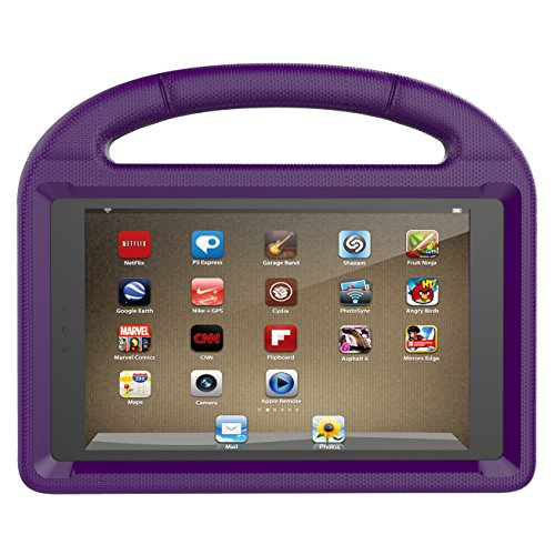 ThreeJ F i r e H D 8 case, Light Weight Shock Proof Portable Handle Soft Foam Case [Kickstand Kids Friendly] for F i r e H D 8 Tablet(7th Gen / 6th Gen, 2017/2016 Realease) (Purple)