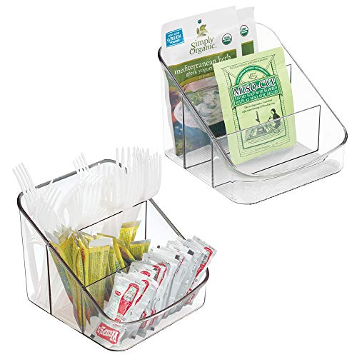 mDesign Spice Packet Organizer for Kitchen Pantry, Cabinet, Countertops - Pack of 2, Clear