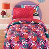 Hearts & Peace Signs, Girls Reversible Full Size Comforter Set (8 Piece Bed In A Bag)