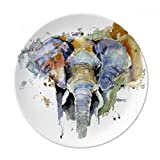 Elephant Painted Personality Animal Dessert Plate Decorative Porcelain 8 inch Dinner Home
