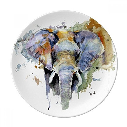 Elephant Painted Personality Animal Dessert Plate Decorative Porcelain 8 inch Dinner Home by DIYthinker