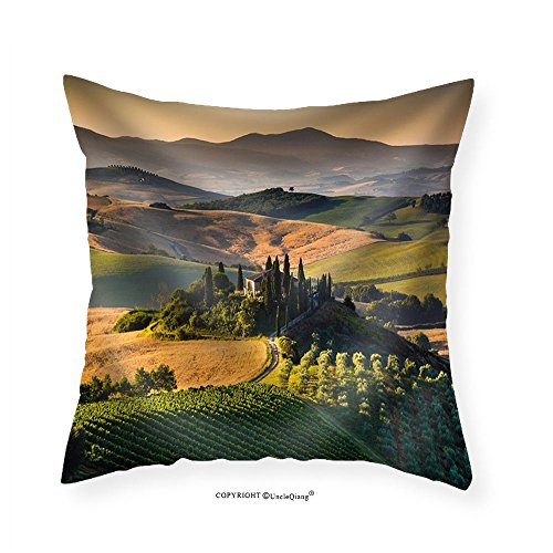 VROSELV Custom Cotton Linen Pillowcase Scenic Tuscany landscape with rolling hills and valleys in golden morning light Val d Orcia Italy - Fabric Home Decor (Tuscany 12 Light)