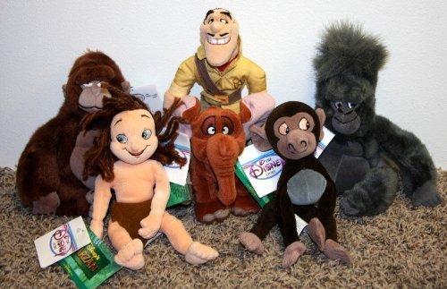 Rare Disney Tarzan Plush Bean Bag Complete Set with Kala,...