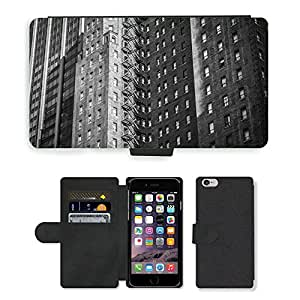 Hot Style Cell Phone Card Slot PU Leather Wallet Case // M00171266 Building Apartment City Urban // Apple iPhone 6 4.7""