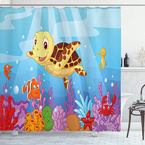 "Ambesonne Turtle Shower Curtain, Funny Cartoon Style Underwater Sea Animals Baby Turtle and Fish Pattern, Cloth Fabric Bathroom Decor Set with Hooks, 75"" Long, Blue Brown"