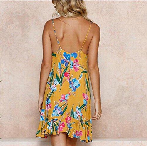 V Neck Yellow Slip Floral Strap Domple Womens Ruffles Shift Swing Spaghetti Dress qpRIpfWt