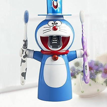 Doraemon pasta de dientes automático Exprimidor Dispensador de pasta de dientes cepillo de dientes soporte para