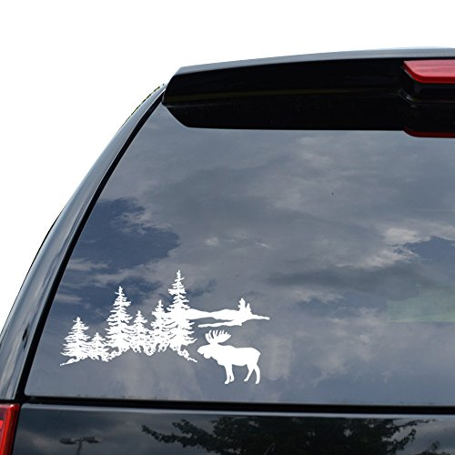 OUTDOORS FOREST MOOSE MOUNTAIN Decal Sticker Car Truck Motorcycle Window Ipad Laptop Wall Decor - Size (07 inch / 18 cm Wide) - Color (Matte (Moose Motorcycle Accessories)