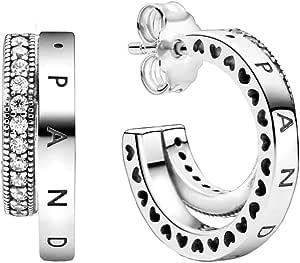 Pandora Pendientes dobles pavé en plata.