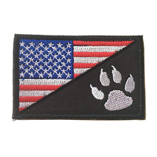 - USA American Flag w/Dog Tracker Paw Embroidered Applique Morale Hook & Loop Patch (Red)
