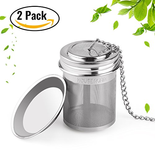 2 Pack Tea Ball Infuser by House Again, Extra Fine Mesh Tea Infuser Threaded Connection 18/8 Stainless Steel with Extended Chain Hook for Hanging on Teapots Mugs Cups to Brew Loose Leaf Tea (Mesh Steel Infuser Tea)