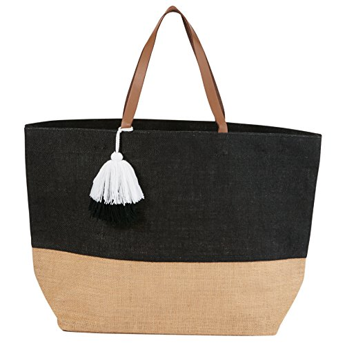 Mud Pie 8613351BK Color Block Jute Tote Bag, Black