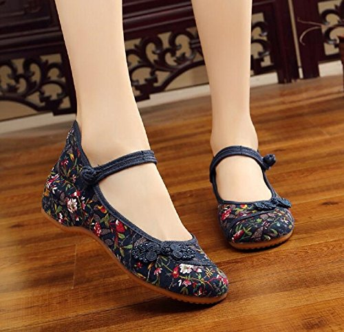 para casual clásico de chino estilo Zapatillas bordar Azul fiesta estilo para para mujer bailar estilo Lazutom Uz74qC