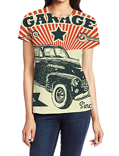 - Women's Basic T-Shirt Garace Since 1960 Full Servis Lady Casual Tops Graphic Print Summer Tees Vacation Shirt S