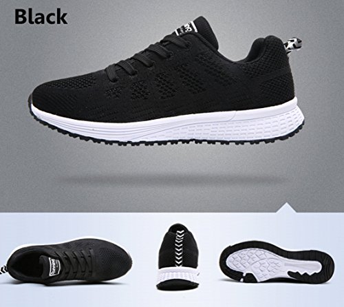 PAMRAY Womens Ladies Trainers Lace-up Fitness Sports Shoes Athletic Running Sneakers Black Blue Grey White 35-40 Black(slim Model,pls Choose 1 Size Up)