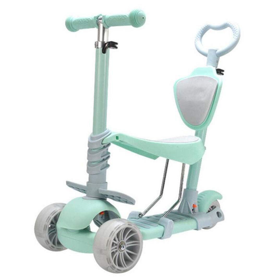 Children's scooter kick scooter children's kids 3-wheel scooter, 3-in-1 ultra-wide PU flash wheel kids scooter with detachable seat, adjustable height handle, scooter child boy girl 1 to 8 years old by JBHURF (Image #1)