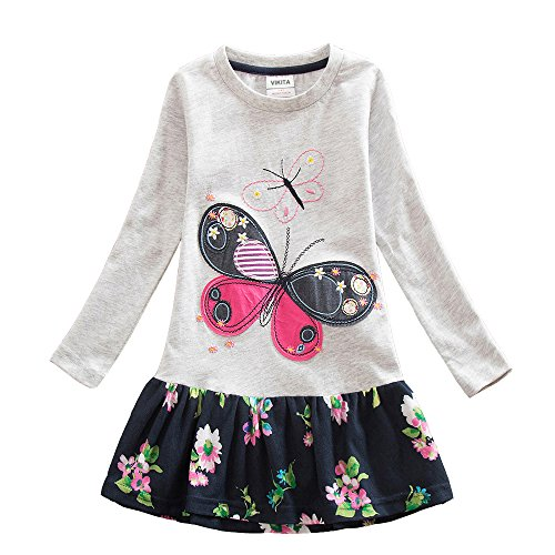 VIKITA 2017 New Girls Embroidery Cotton Long Sleeve Flower Dresses LH5460 Gray 3-4 Years -