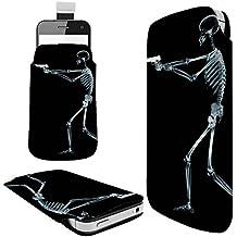 1112 - Death Skeleton Zombie X-Ray Gun Bones Microsoft Nokia Lumia 535 550 630 640 650 730 830 Fashion Slim PU Soft Pull Tab Pouch Case Sleeve Cover