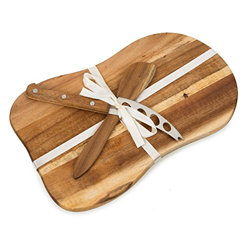 Cheese Board Gift Set, Acacia Wood Platter Tray with Cheese Tool & Knife [11