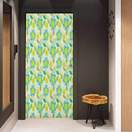 Onefzc Wood Door Sticker Flower Blooming Nature Themed Illustration with Foliage and Curved Lines Easy-to-Clean, Durable W38.5 x H79 Apple Green Pale Green - Blue Curved Coffee Flower