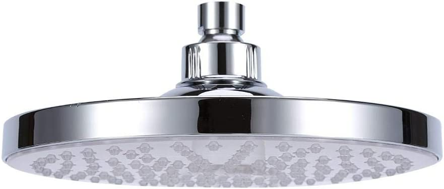 Suitable for All Standard Connectors. 8-inch Bathroom Shower Head with 7-Color Automatic Changing Waterproof Led Light