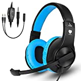 Gaming headset SL-300 with mic for PS4, Xbox one, PC, Computer, EZONE Noise Cancelling Over Ear Headphones with Microphone, Surround Sound, Volume Control, Soft Memory Earmuffs-Blue For Sale