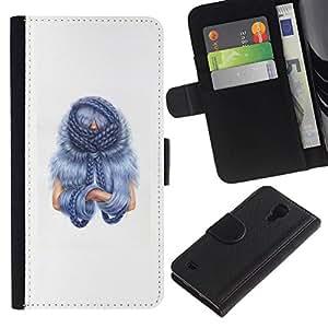 // PHONE CASE GIFT // Moda Estuche Funda de Cuero Billetera Tarjeta de crédito dinero bolsa Cubierta de proteccion Caso Samsung Galaxy S4 IV I9500 / Blu Hair /