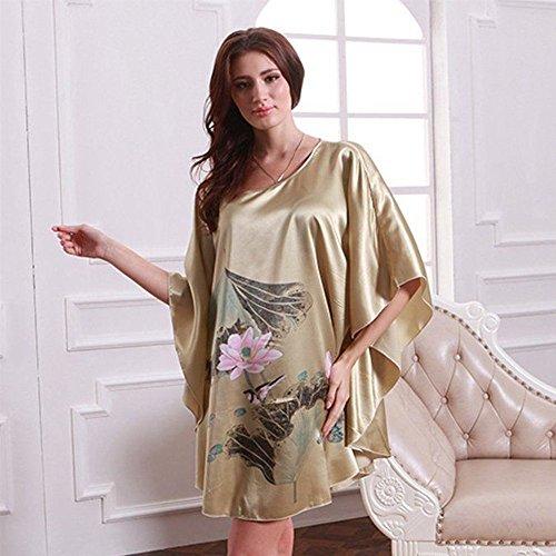Pyjama Femme Vêtement Chemise de Nuit en Soie Beige/VERT