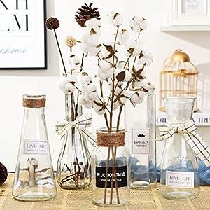 Yezijin Artificial Fake Flowers, Naturally Dried Cotton Stems Farmhouse Artificial Flower Filler Floral Decor 2