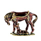 McTiffany Vintage Style Jewelry Organizer Holder New Mare Horse with Baby Ring Holders for Jewelry Collectable Horses Decorative FigurinesTrinket Small Box (3.5''X2.5''X2 ' )(Copper