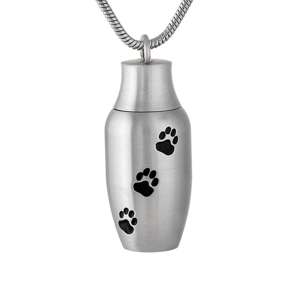 Print Dog/Cat Paw Print Cremation Urn Jewelry Pet Mini Casket Memorial locket for ashes necklaces