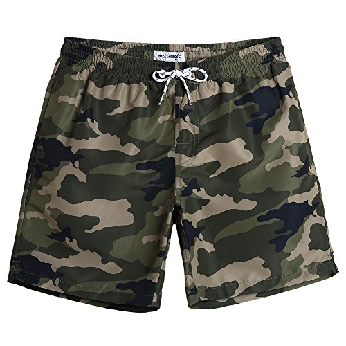 MaaMgic Mens Slim Fit Quick Dry Short Swim Trunks with Mesh Lining (Large, Camo Pattern-859271)