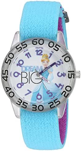 Disney Girl's 'Cinderella' Quartz Plastic and Nylon Automatic Watch, Color:Blue (Model: W002938)