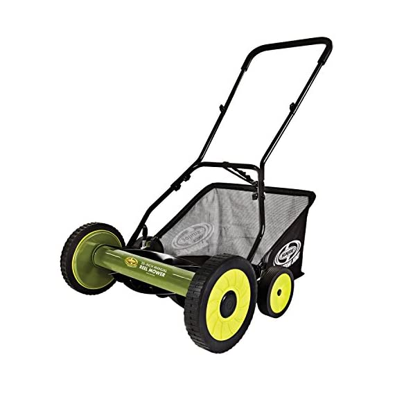 Sun Joe MJ502M Manual Reel Mower w/Grass Catcher | 20 inch 1 ✅ REEL MOWER: Powered with a push, this manual mower's 5 sharpened steel blades cut a crisp 20-inch path in a single pass - no gas, oil or electricity required ✅ ADJUSTABLE: 9 position manual height adjustment for cutting heights up to 2.44 in. deep ✅ RAZOREEL: 5 durable steel blades swiftly slice through grass for precise cutting