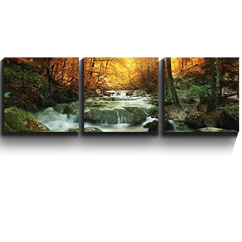 3 Square Panels Contemporary Art Golden leaves and forest waterfall serene Three Gallery ped Printed Piece x 3 Panels