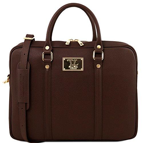 Tuscany Leather Prato - Esclusiva cartella porta notebook in pelle Saffiano - TL141626 (Caramello) Testa Di Moro