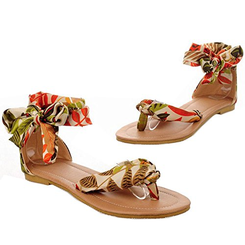Mujer Flip Chicas Planos FANIMILA Sandalias Cordones Breeze Flop Amarillo Zapatos Nature Moda dExcBqpqR