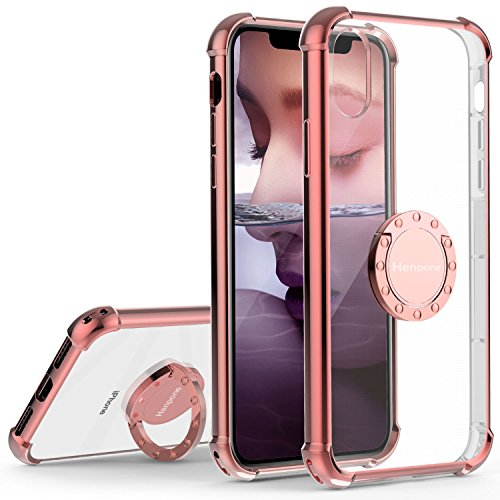 Henpone iPhone X Case, iPhone Xs Case, Clear Back Cover with 360 Rotating Ring Stand Kickstand Holder Shockproof Impact Resistant Drop Protection Phone Case for Apple iPhone X/XS - Pink