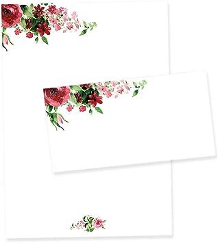 50 Blatt Briefpapier Set A4 Briefbögen Motivpapier Bastelpapier blumen rot weiss