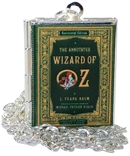 Wizard of Oz Book Cover Locket Jewelry, Silver Chain, Holds 2 Pictures