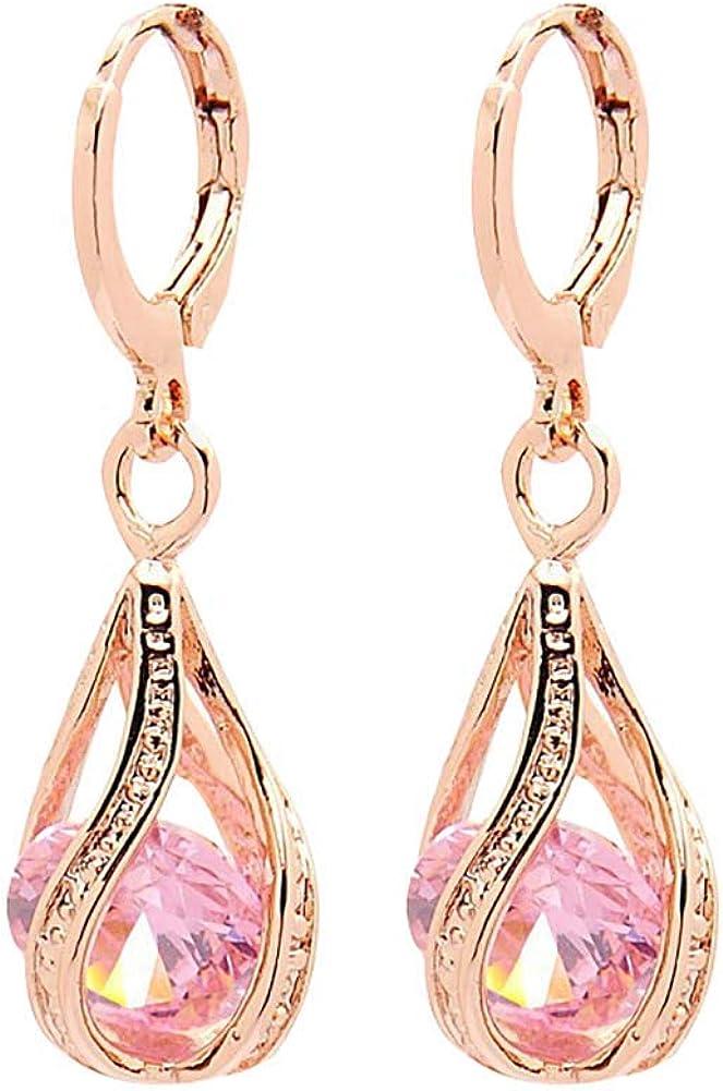 Comelyjewel Women's Earring with Hollow Design,Women Fashion Cubic Zirconia Water Drop Dangle Leaverback Earrings Jewelry Gift - Pink