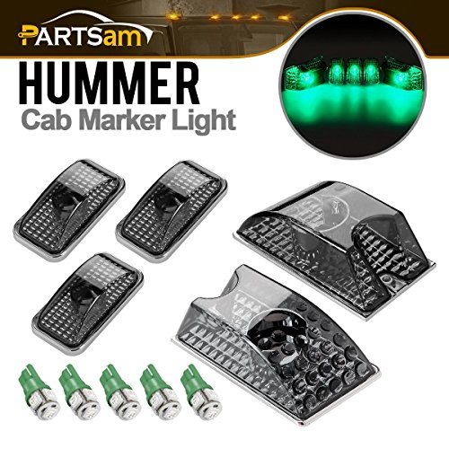 Partsam 5X 264160BK Smoke Cover Lens Cab Marker Top Roof Running Crystal Chrome Lights + 5PCS T10 194 168 W5W Green 5-5050-SMD LED Bulbs Compatible with Hummer H2 SUV SUT 2003-2009