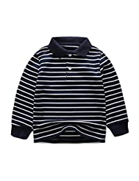FCQNY Baby Kids Boys' Summer Stripe Polo Shirt Casual Long Sleeve Tee (Color : Stripe, Size : 110)