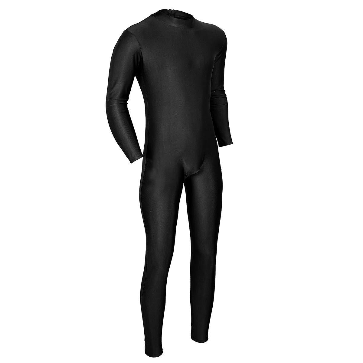 YiZYiF Herren Langarm Overall Jumpsuit Rollkragen Unterhemd Ganzk/örperanzug mit Rei/ßverschluss Einteiler Bodysuit Tanz Sport Kleidung